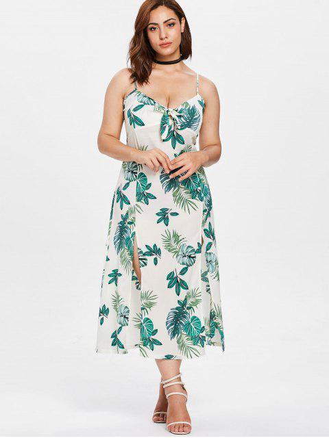 fancy Leaves Slit Plus Size Cami Dress - MULTI 2X Mobile