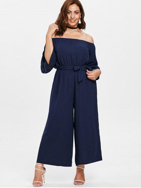 lady Off Shoulder Wide Leg Plus Size Jumpsuit - MIDNIGHT BLUE 4X Mobile
