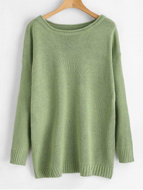 chic Boat Neck Boyfriend Sweater - GREEN ONE SIZE Mobile