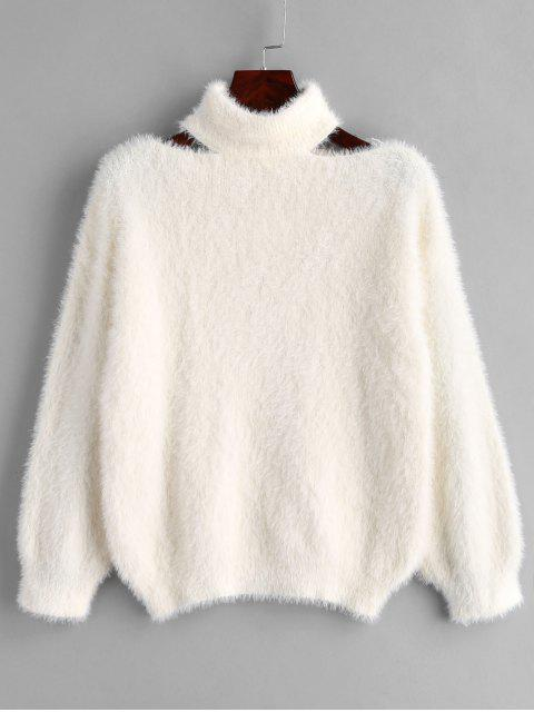 buy Cut Out Pullover Fluffy Sweater - WHITE ONE SIZE Mobile