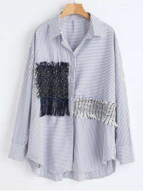 sale High Low Striped Shirt with Fringe - MULTI S Mobile