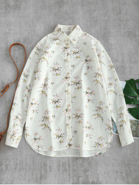 Camisa floral abotonada de los puños profundos - Blanco L Mobile