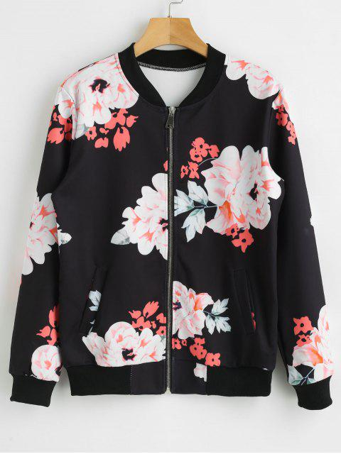 Zip Up Flower Jacket - Negro XL Mobile
