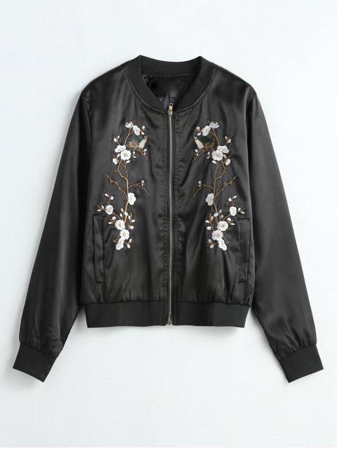 hot Floral Embroidered Bomber Jacket - BLACK ONE SIZE Mobile