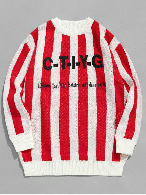 Applique Letters Gestreifte Strickpullover - Rot XL  Mobile
