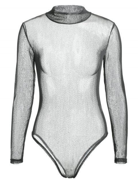 fancy Long Sleeve See Through Voile Bodysuit - BLACK M Mobile