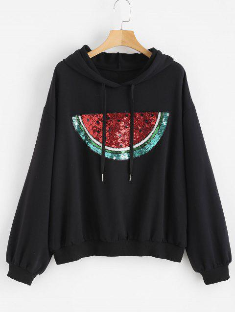 women's Sequined Watermelon Plus Size Hoodie - BLACK 2X Mobile
