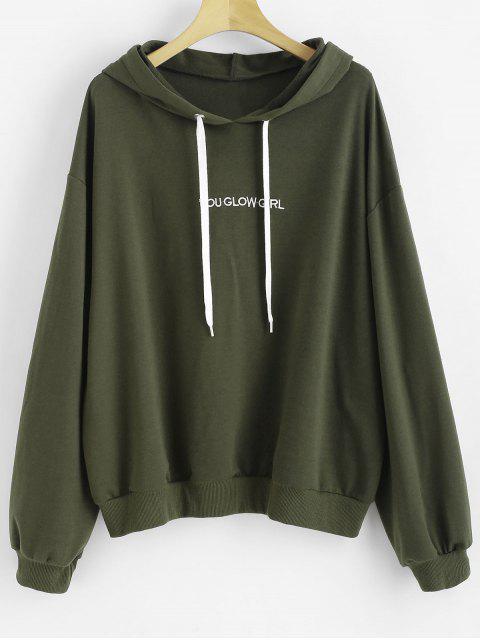 Buchstabe bestickt Plus Size Hoodie - Rehbraunes Grün 1X Mobile