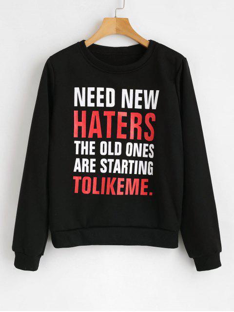 lady NEED NEW HATERS Graphic Fleece Sweatshirt - BLACK L Mobile