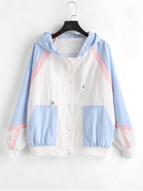 shop Color Block Tricolor Twill Jacket - MULTI M Mobile