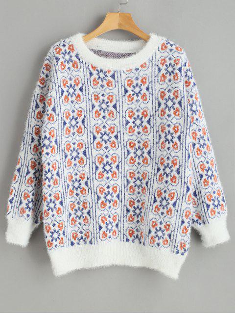 unique Loose Crew Neck Graphic Sweater - WHITE ONE SIZE Mobile