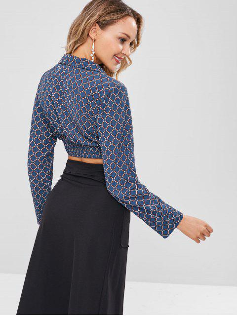 hot ZAFUL Long Sleeves Printed Self Tie Blouse - PEACOCK BLUE XL Mobile