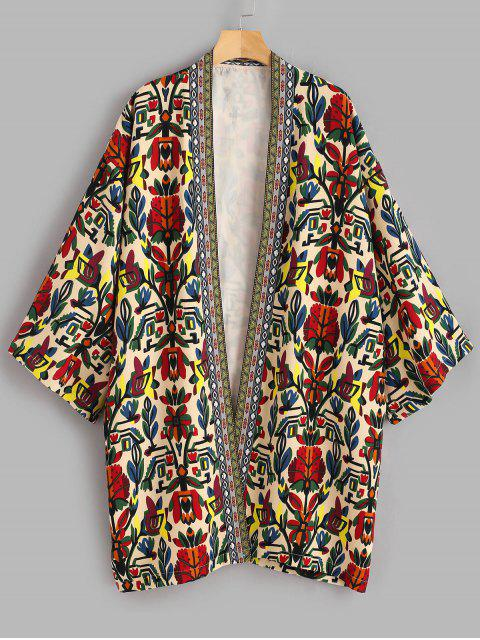 unique Printed Plus Size Coat - MULTI 4X Mobile