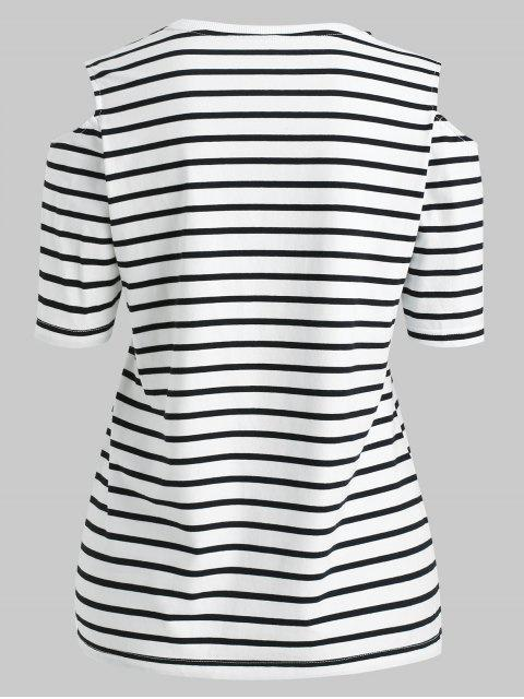 shops ZAFUL Cut Out Shoulder Striped Tee - MULTI S Mobile