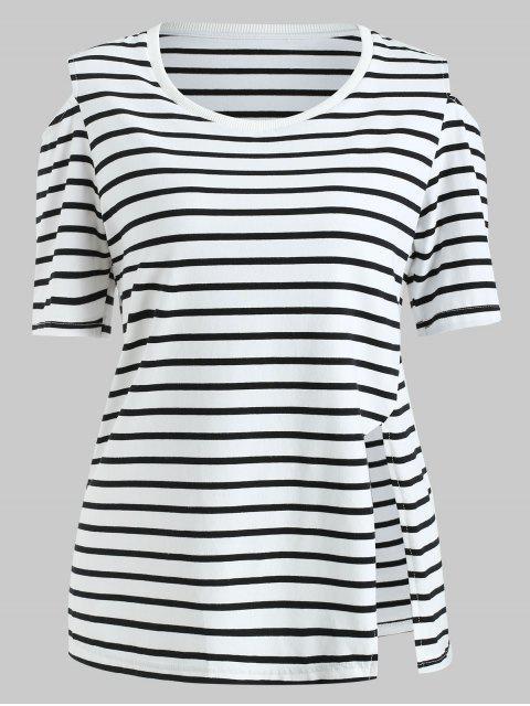 trendy ZAFUL Cut Out Shoulder Striped Tee - MULTI L Mobile