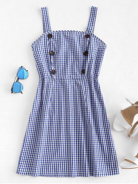 chic Buttoned Gingham Mini Dress - COBALT BLUE S Mobile