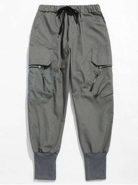 latest Side Zipper Pockets Harem Pants - DARK GRAY 2XL Mobile