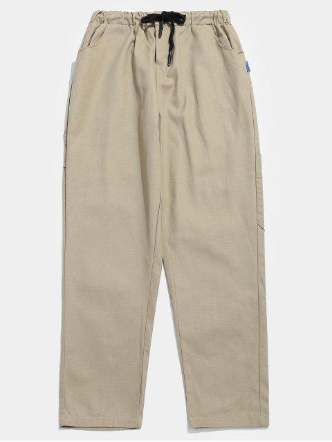 unique Pockets Zipper Fly Drawstring Pants - LIGHT KHAKI M Mobile