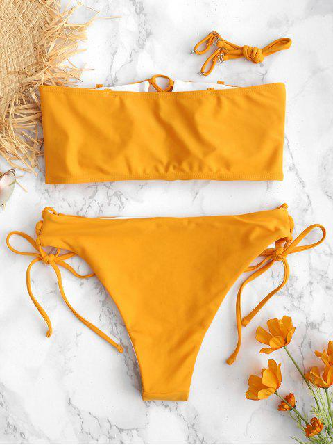 ladies ZAFUL Lace Up High Leg Cami Bikini Set - BRIGHT YELLOW M Mobile