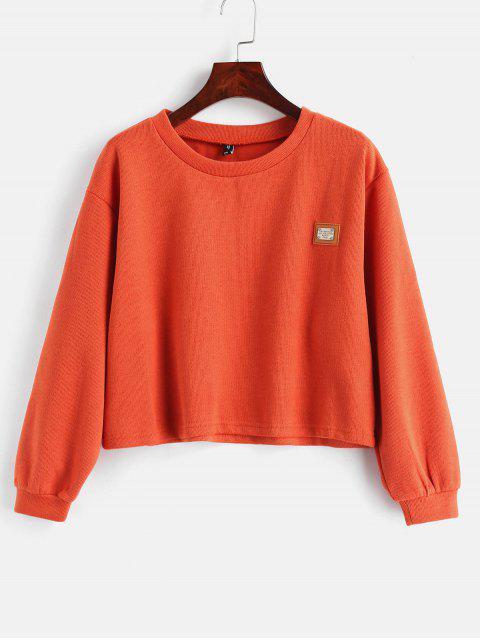 affordable ZAFUL Metal Plaque Pullover Sweatshirt - ORANGE L Mobile