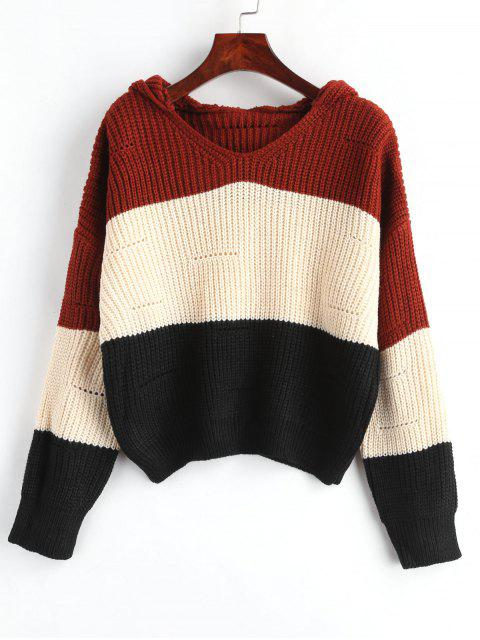 women's Hooded Color Block Drop Shoulder Sweater - APRICOT ONE SIZE Mobile