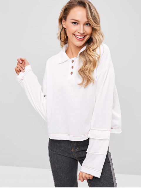 hot Drop Shoulder Raw Hem Sweatshirt - WHITE ONE SIZE Mobile