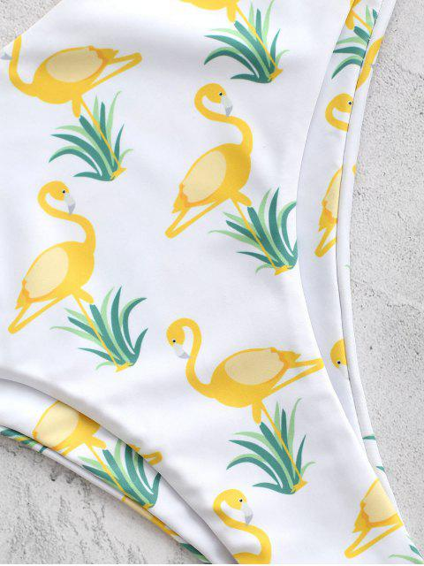 hot ZAFUL Flamingo Knot Plunge Bikini Set - WHITE S Mobile