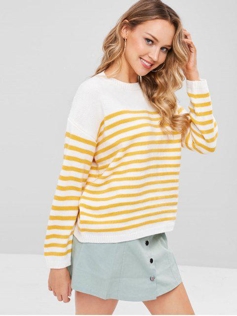 chic Striped Loose Sweater - BRIGHT YELLOW ONE SIZE Mobile