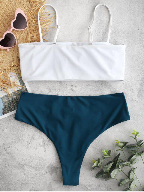 chic ZAFUL Cami Color Block Criss Cross Bikini Set - GREENISH BLUE M Mobile