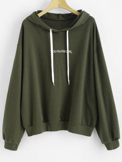 c7f22580736 Letter Embroidered Plus Size Hoodie - Hazel Green 4x ...