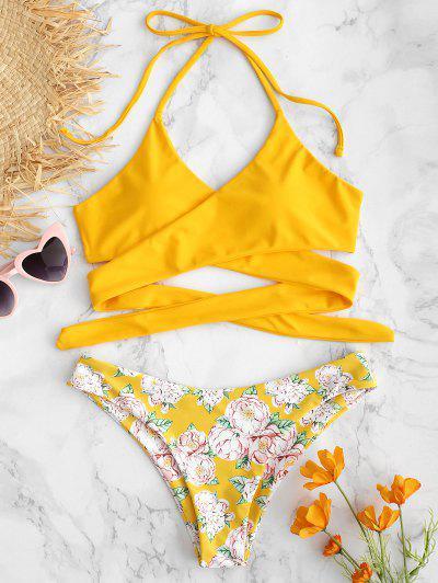 a7ecfb7050692 ZAFUL Halter Flower Criss Cross Bikini Set - Rubber Ducky Yellow L