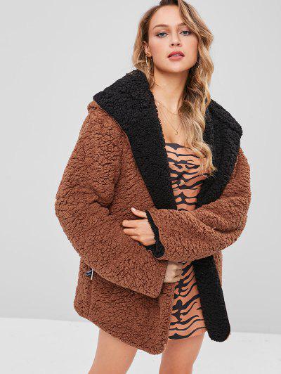 Hooded Open Front Lamb Wool Coat - Brown L