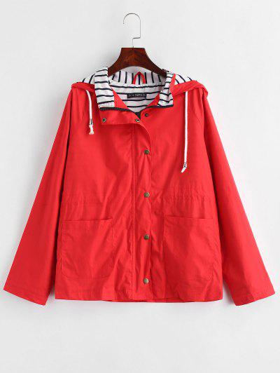 Stripes Panel Snap Button Hooded Jacket - Lava Red S