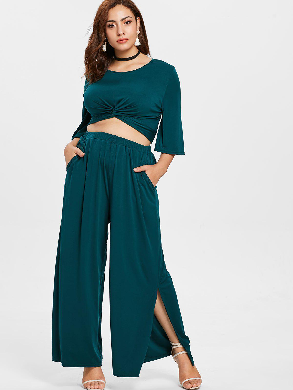 Plus Size Twist Top and Wide Leg Pants