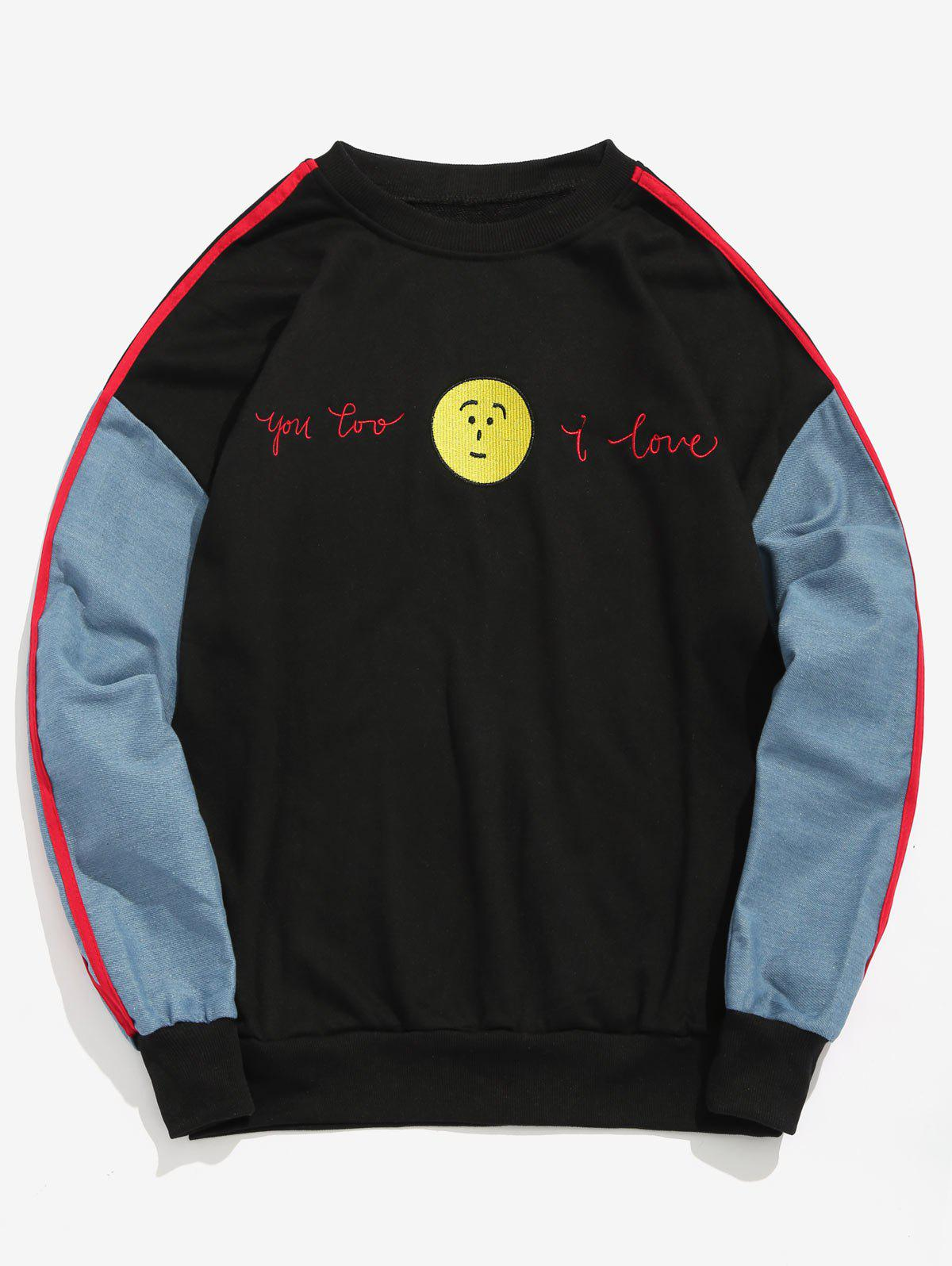 Face Embroidery Striped Patchwork Sweatshirt
