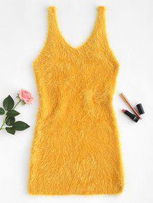 انخفاض قطع غامض متماسكة تانك اللباس - بني ذهبي S