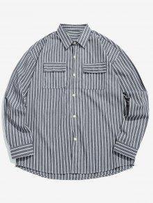 قميص مقلم جيوب كاجوال - الرمادي الداكن Xl
