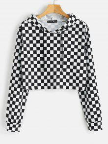 ZAFUL Checkerboard Print Cropped Hoodie - متعدد M
