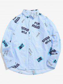 قميص بطبعة حرف - ازرق رمادي L