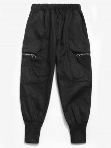 سروال جانبي بسحاب جانبي - أسود L