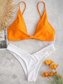 ZAFUL اللون كتلة عالية الساق بيكيني مجموعة - البرتقالي L