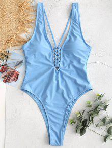 ZAFUL كريسس الصليب اغراق عارية الذراعين ملابس السباحة - الكريستال الأزرق M
