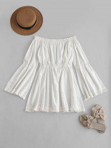 شرابات قبالة الكتف اللباس - أبيض S