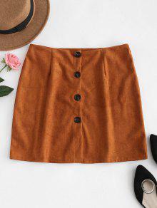 زر أسفل تنورة من جلد الغزال - النمر البرتقالي S