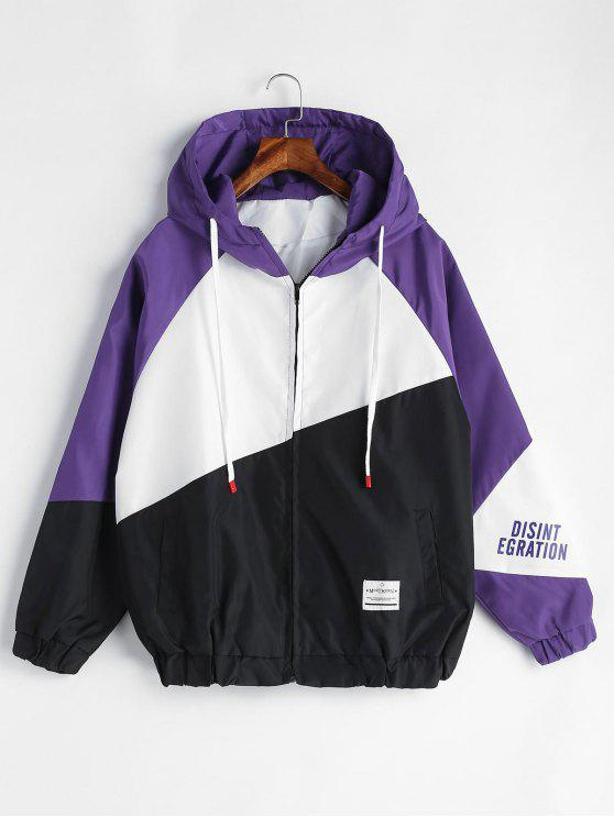 affordable Patchwork Graphic Hooded Jacket - MULTI S