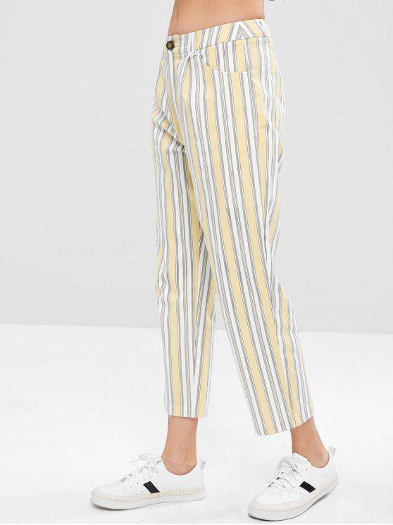 shops ZAFUL Striped Pocket Zip Fly Pants - MULTI M