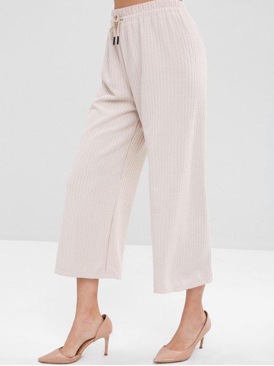 trendy Wide Leg Ribbed Pants - BEIGE ONE SIZE