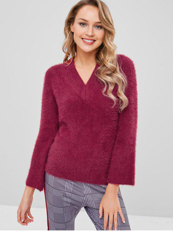 trendy V Neck Furry Sweater - RED WINE ONE SIZE
