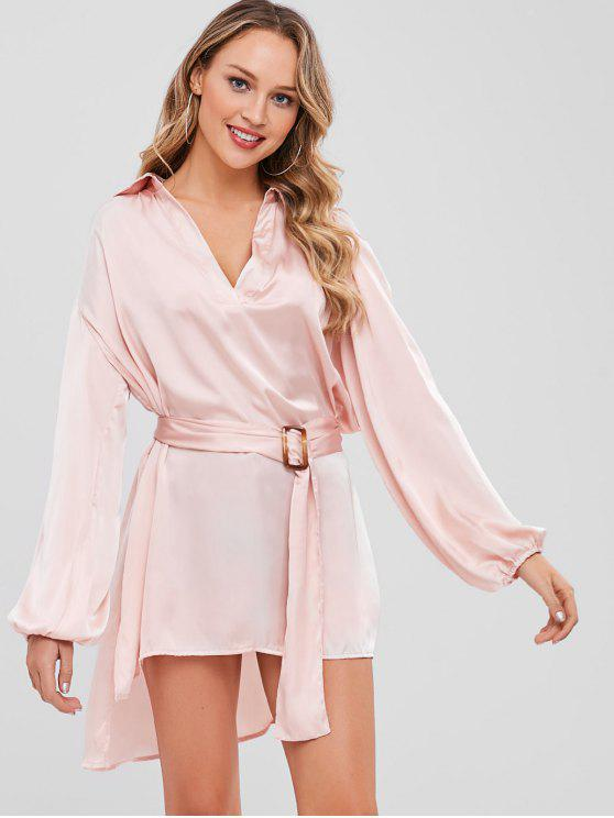 V-Ausschnitt Schlitz High Low Longline Top - Helles Rosa L