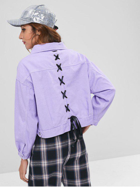 outfit Contrasting Ribbon Lacing Boxy Denim Jacket - MAUVE S